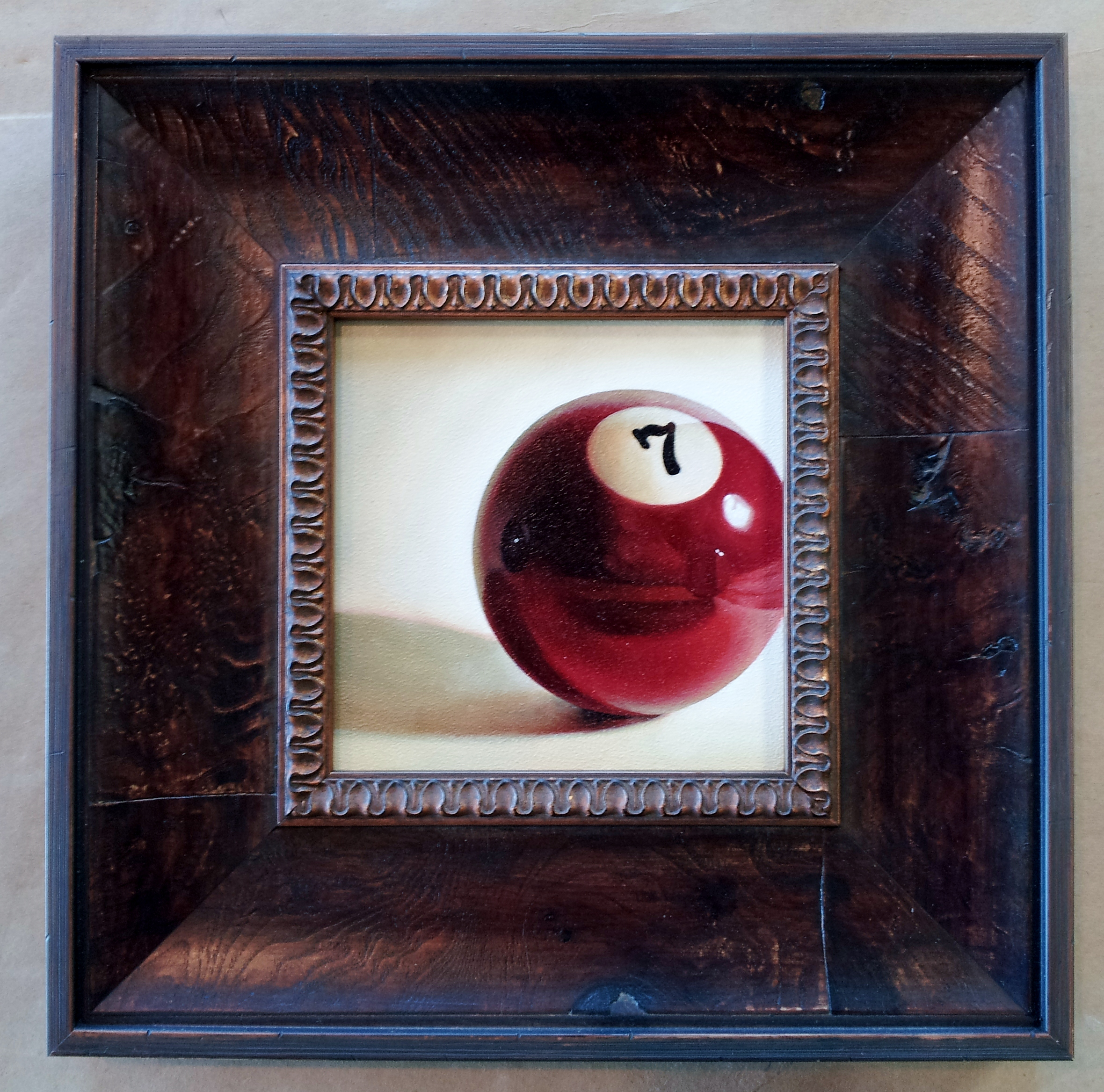 Framed cue ball #7 painting