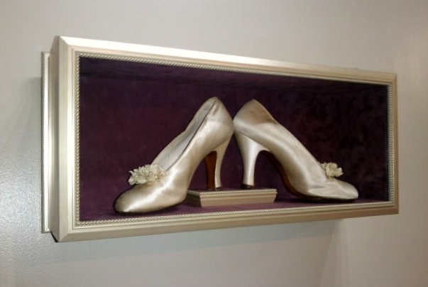 Shadowbox for wedding shoes
